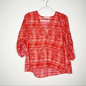 The Impeccable Pig Red & White V Neck Blouse
